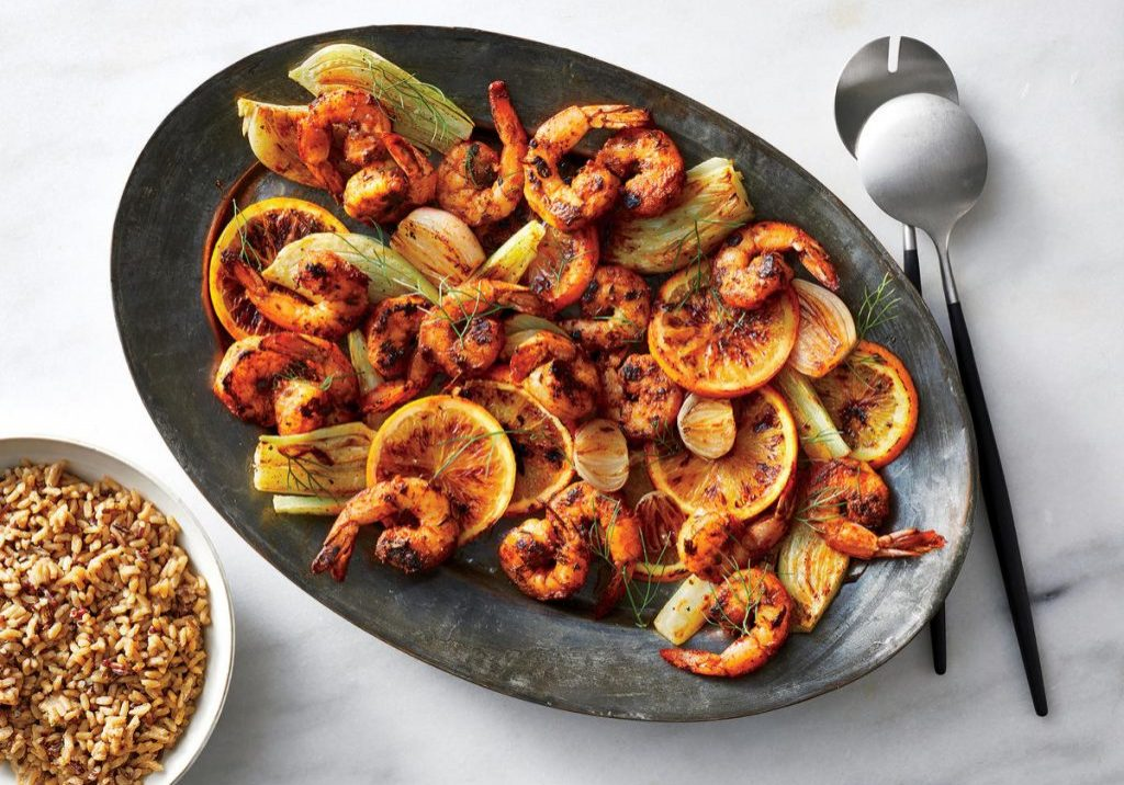 Cooking Light: Dinner Tonight:  Blackened Shrimp with Citrus and Roasted Fennel Photography:  Caitlin Bensel, Food Styling: Tina Stamos, Prop Styling Heather Chadduck Hillegas