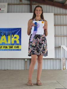 Brigid McGowan received a blue in Clothing selection and will be going to Clay County Fair