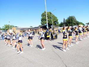 Cheerleaders leading the pep rally