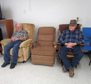 Jerry Stilwell and Jerry White wait for the trick-or-treaters to arrive