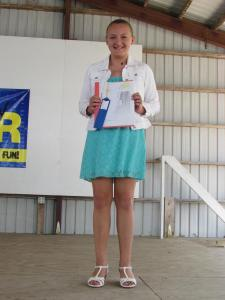 Jordan Schweitzberger received a blue ribbon in Clothing Selection