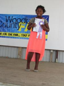 Kami Schrunk received a blue ribbon in the $15 Challenge and was selected to show her outfit at the Spencer Fair