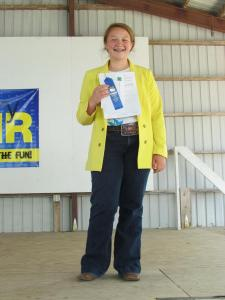 Kara Nelson received a blue ribbon in Clothing Selection