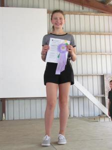 Maria McGowan received a Merit in the $15 Challenge and will also show her outfit at Clay County Fair