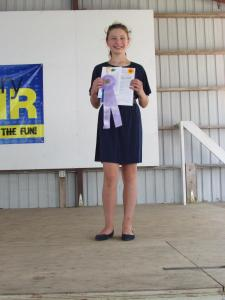 Maria McGowan received a blue ribbon and a resourcefulness award in Clothing Selection and will be showing her outfit at the Clay County Fair