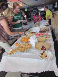 Pie contest organized by Scooter Kindig. Judges were Faye Harvey, Rebecca Pedersen, and Val Sitzmann