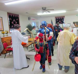 Trick or treaters coming into the Moville Senior Center