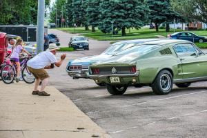 Trying to get that green Mustang backed in just right